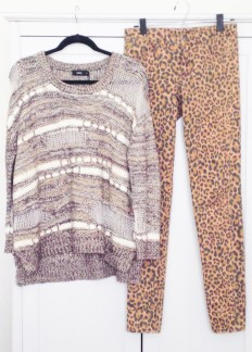 I chose this gnarled semi-seethrough sweater, found in a random market shoppe, and paired it with some leopard print skinny jeans from H&M